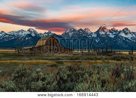 John Moulton barn with Grand Tetons on Background Jackson, WY