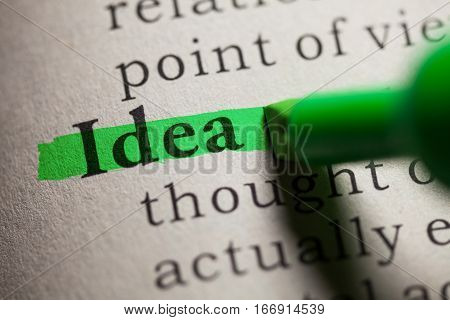 Fake Dictionary definition of the word idea.