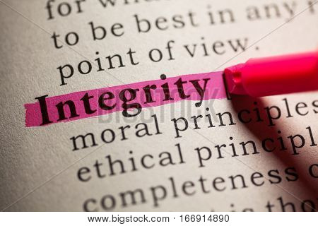Fake Dictionary definition of the word integrity.