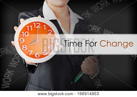 Time for change with Business wooman showing clock with holding document. Business concept.