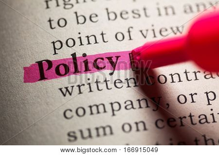 Fake Dictionary definition of the word policy.