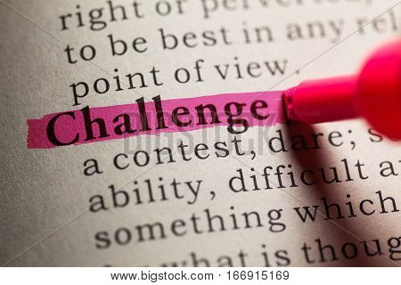 Fake Dictionary definition of the word challenge.
