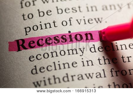 Fake Dictionary definition of the word recession.