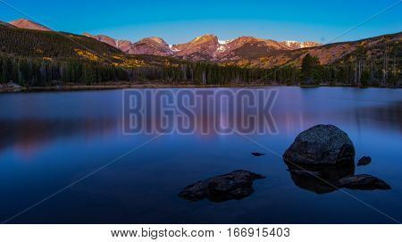 Sprague Lake at Sunrise During Fall with Reflection Rocky Mountain National Park