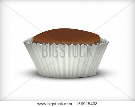 Cupcake in a white Cup. Isolated vector image. Simulation 3D