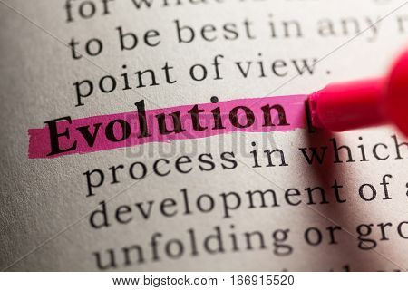 Fake Dictionary definition of the word evolution.