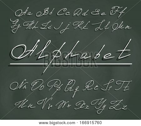 handwriting font with elegant curlicues. White letters in the air with a clear shadow on the background of chalky dark green school Board