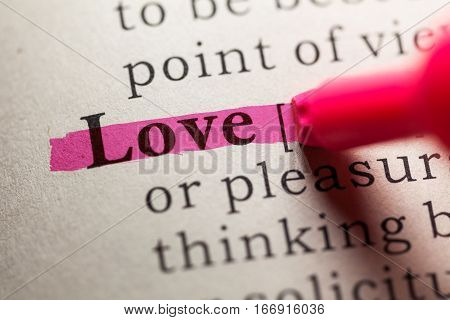 Fake Dictionary definition of the word love.