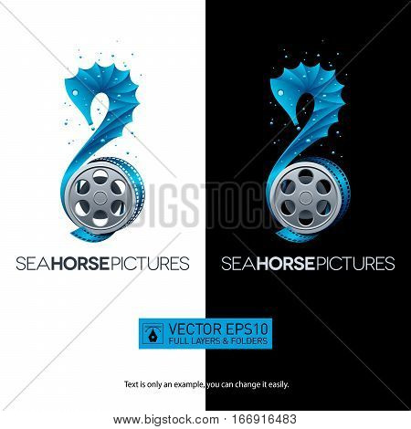 Seahorse-shaped movie concept with film reel for your designs. Isolated vector illustration logo on black and white background. Full layers and folders.