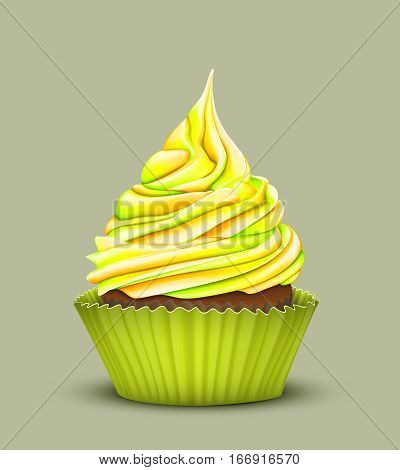 Pretty cupcake charm with multi-color gradient cream in the mold lemon color on a green background. Vector stylized 3D