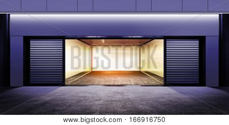 modern empty garage on street of city at night time