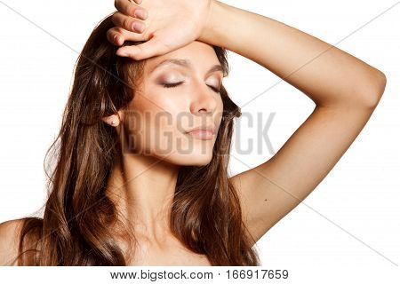 Young natural beautiful woman  with her eyes closed up