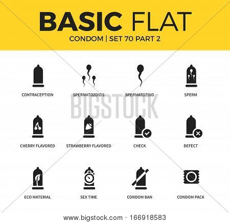 Basic set of eco material form, sex time form and spermatozoid form icons. Modern flat pictogram collection. Vector material design concept, web symbols and logo concept.