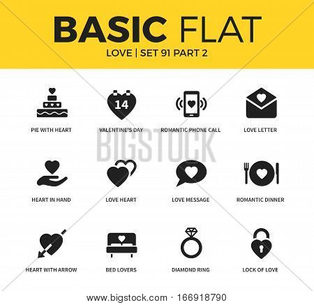 Basic set of love heart, love message and romantic dinner icons. Modern flat pictogram collection. Vector material design concept, web symbols and logo concept.