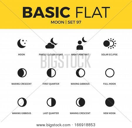 Basic set of solar eclipse, last quarter and first quarter icons. Modern flat pictogram collection. Vector material design concept, web symbols and logo concept.
