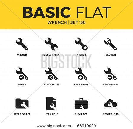 Basic set of double wrench and repair box icons. Modern flat pictogram collection. Vector material design concept, web symbols and logo concept.