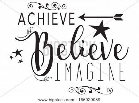 The words ACHIEVE, BELIEVE, IMAGINE with different text.