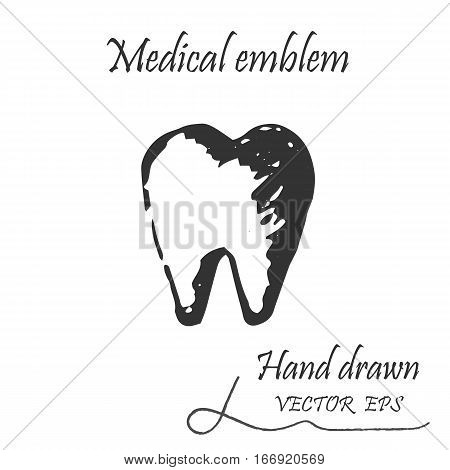 Human tooth icon. This emblem is drawn with a pencil.