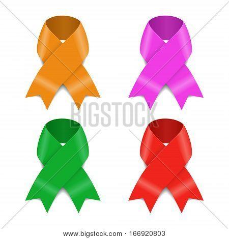 Set of Four Awareness ribbons, Vector Illustration