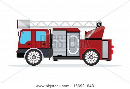 Fire truck isolated on whiteemergency vehicle fire engine truck flat design vector illustration.