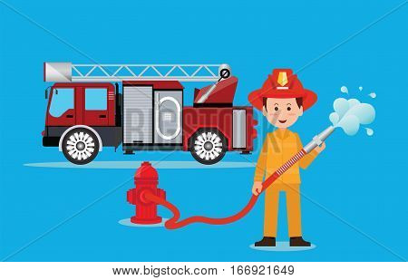 Fireman firefighter in uniform with water hose emergency vehicle fire engine truck firefighting concept illustration.