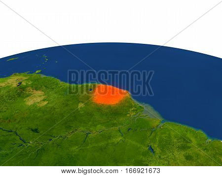 French Guiana In Red From Orbit