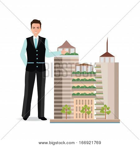 Real estate broker presenting a model of modern city isolated on white Real estate agent Vector flat design illustration.