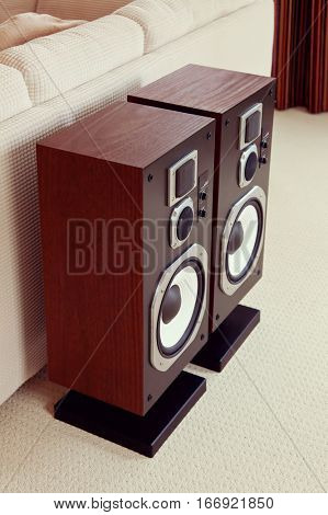 Three Way Big Audio Stereo Loud Speaker Closeup, loudspeaker pair