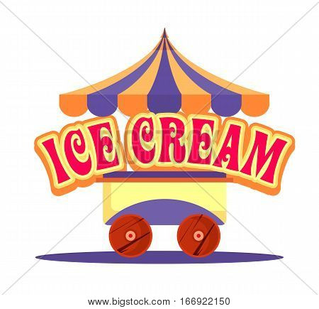 vector illustration of an ice cream cart for fun fairs amusement carnival isolated on a white background