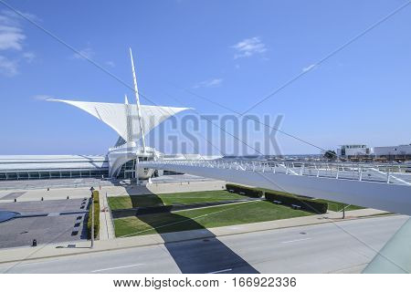MILWAUKEE WI - OCTOBER 24 2013: Wings spread on Milwaukee Art Museum designed by Santiago Calatrava.