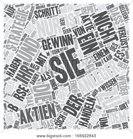 In Sechs Schritten Erfolgreichen an der Borse handeln text background wordcloud concept