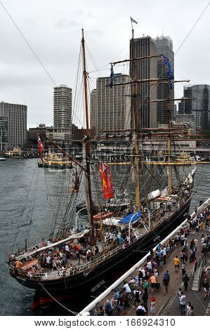 Sydney Australia - January 26 2017. James Craig is a three-masted iron-hulled barque restored and sailed by the Sydney Heritage Fleet. The ship is moored at Circular Quay on Australia Day.
