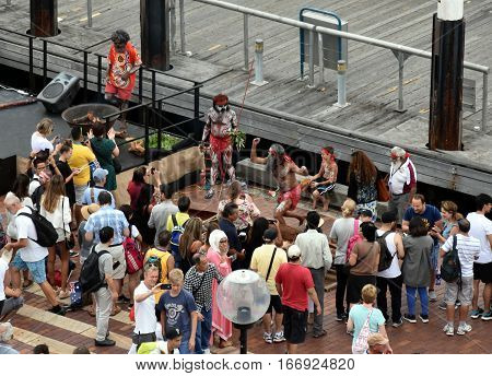Sydney Australia - January 26 2017. People watching indigenous aboriginal people's performance at Circular Quay on Australia Day.
