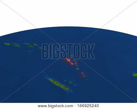 Vanuatu In Red From Orbit