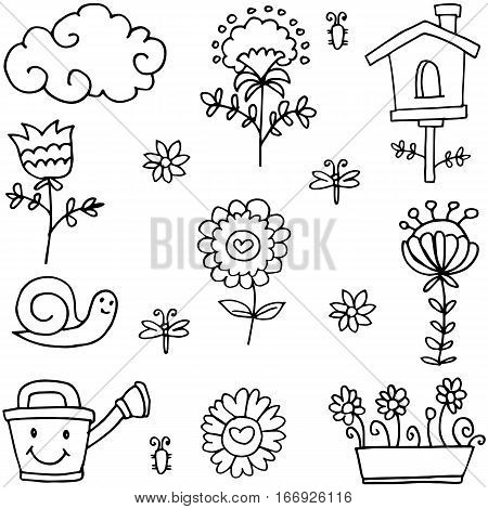 Vector art of spring theme doodles collection stock