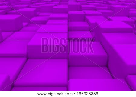 Diagonal Surface Made Of Violet Cubes