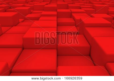 Diagonal Surface Made Of Red Cubes