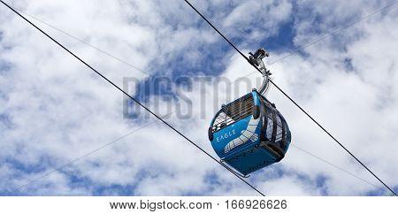 ARTHURS SEAT, AUSTRALIA - January 11, 2017: Gondolas of the Arthurs Seat Eagle Skylift the newest attraction of the Mornington Peninsula Victoria Australia