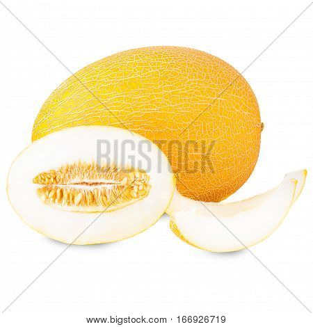Fresh melon slices isolated on white background cutout