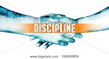 Discipline Concept with Businessmen Handshake on White Background 3D Illustration Render