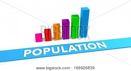 Great Population Concept with Good Chart Showing Progress 3D Illustration Render
