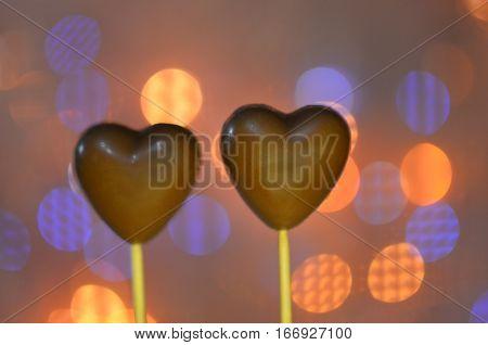 Heart Shaped Chocolates On Sticks