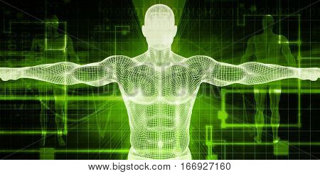 Medical Transplant Procedure of the Future as Abstract 3D Illustration Render
