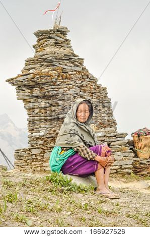 Resting Woman In Nepal