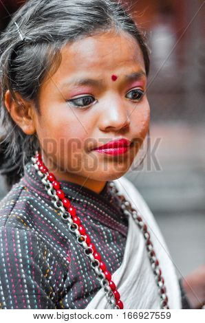 Girl With Make-up In Nepal