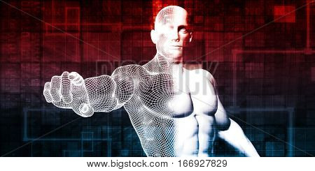 Security System with Intelligent AI Man Guard 3D Illustration Render