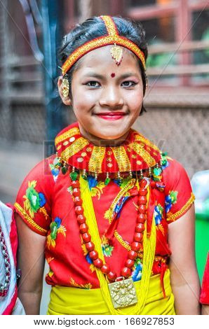 Girl With Large Necklace In Nepal