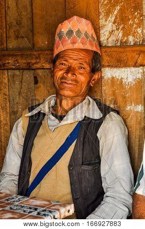 Smiling Man In Vest In Nepal