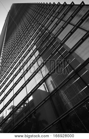 Black and white image of a highrise skyscraper