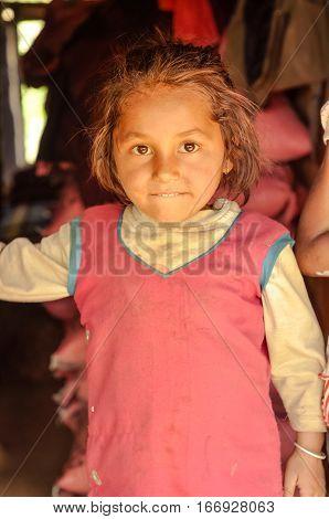 Girl In Pink In Nepal